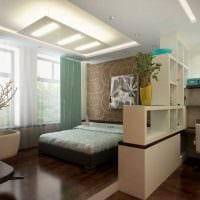 вариант красивого дизайна спальни гостиной 20 кв.м. фото