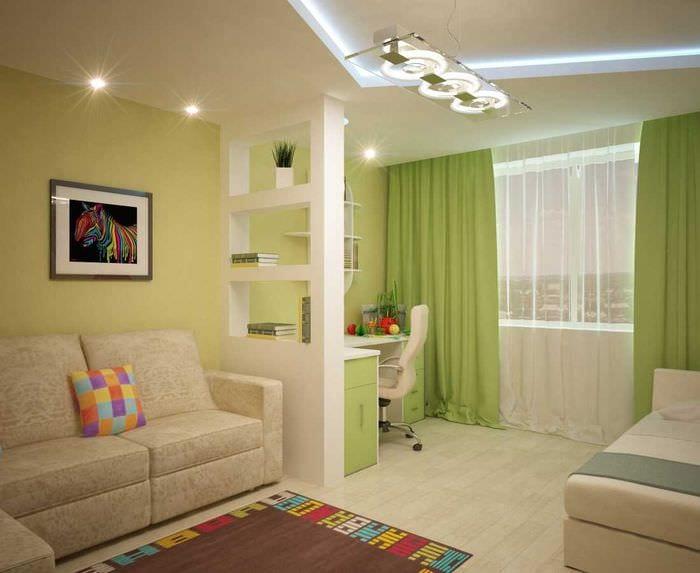идея светлого дизайна гостиной спальни 20 кв.м.
