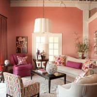 пример применения розового цвета в красивом декоре комнате фото