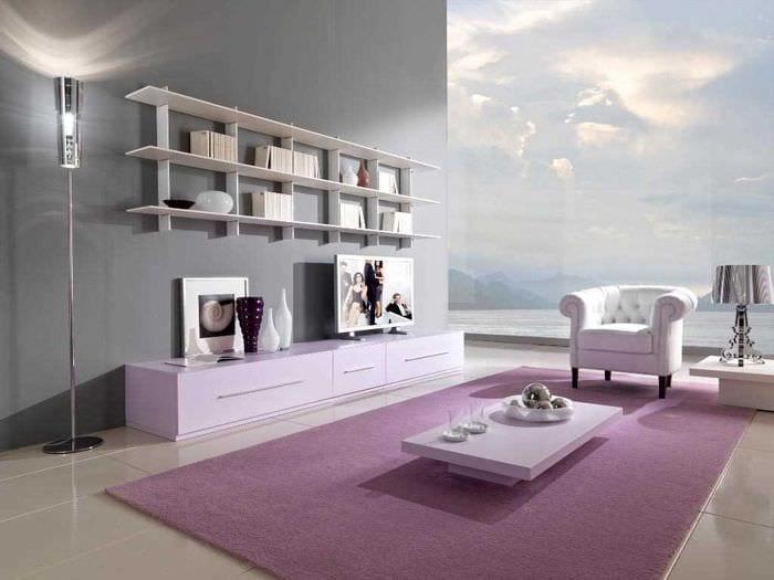 пример использования розового цвета в необычном дизайне комнате
