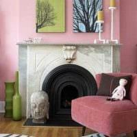 идея использования розового цвета в необычном дизайне комнате картинка