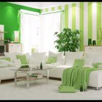 идея использования зеленого цвета в светлом дизайне комнаты картинка