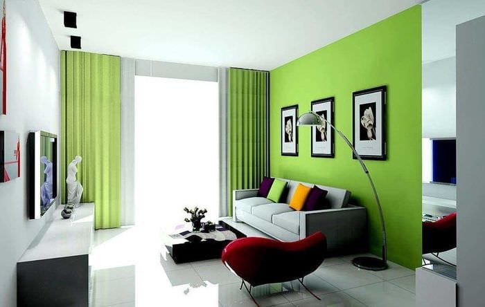 вариант использования зеленого цвета в красивом декоре квартиры