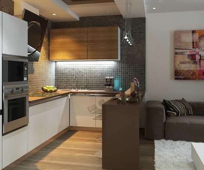 идея светлого интерьера кухни 14 кв.м