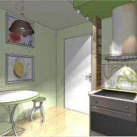 пример яркого интерьера кухни 9 кв.м фото