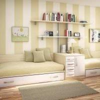 пример светлого декора детской комнаты для двоих детей картинка