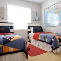 идея светлого стиля детской комнаты для двоих детей картинка