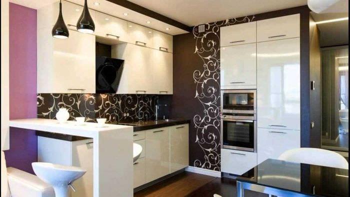 пример необычного дизайна кухни 14 кв.м