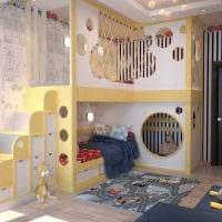 идея светлого интерьера детской комнаты для двоих девочек картинка