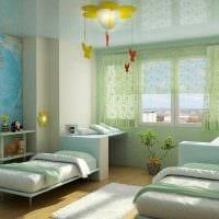 пример необычного декора детской комнаты для двоих девочек картинка