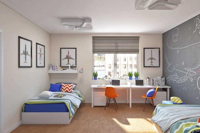 вариант красивого стиля детской комнаты для двоих девочек