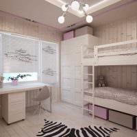 идея яркого дизайна детской комнаты для двоих девочек фото
