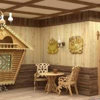 вариант использования русского стиля в ярком декоре комнате картинка