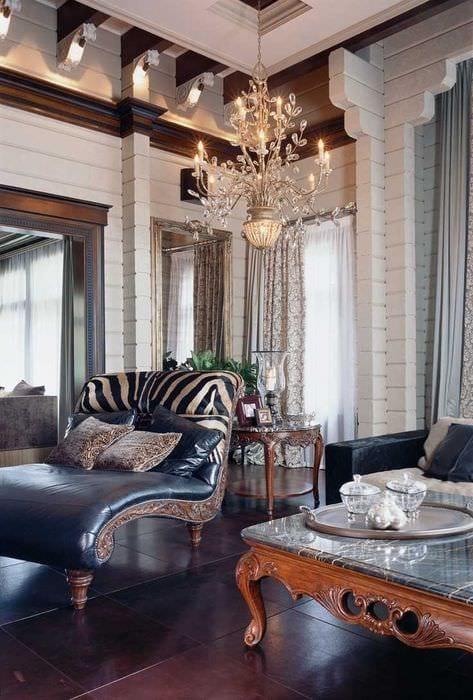 вариант использования русского стиля в красивом декоре квартире