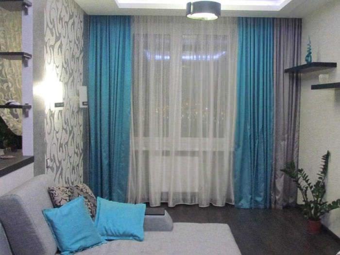 пример применения современных штор в светлом декоре квартире