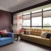 вариант применения современных штор в ярком дизайне комнате картинка