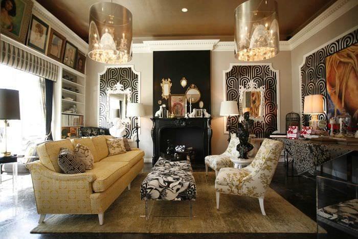 вариант использования яркого декора комнаты в стиле ретро