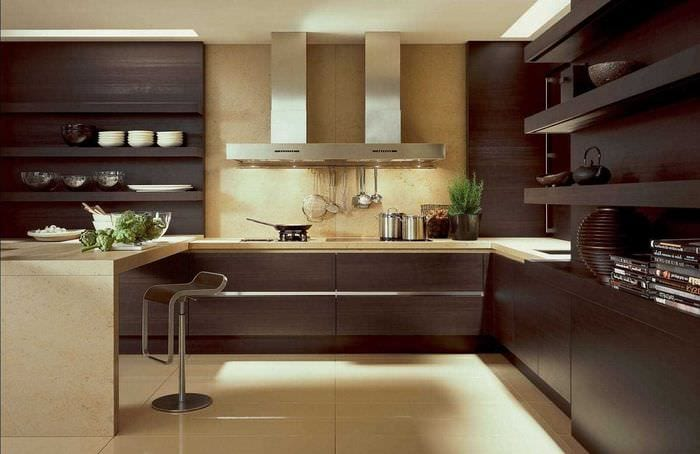 пример применения красивого дизайна кухни