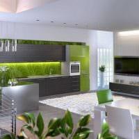 вариант применения зеленого цвета в необычном интерьере комнаты фото