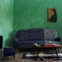 вариант использования зеленого цвета в красивом интерьере квартиры картинка