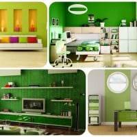 идея применения зеленого цвета в ярком интерьере комнаты фото