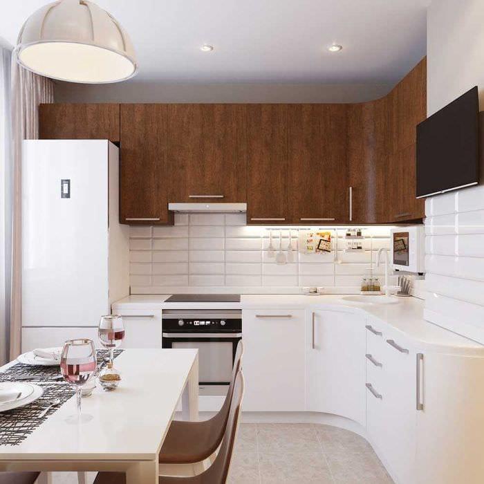 пример светлого интерьера кухни 8 кв.м