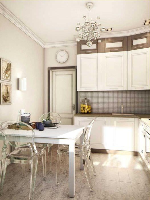 вариант светлого дизайна кухни 9 кв.м