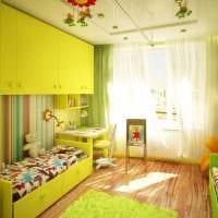 идея яркого интерьера детской комнаты для двоих детей картинка