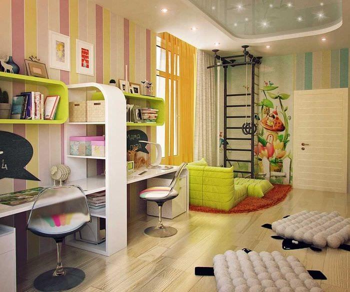 идея светлого дизайна детской комнаты для двоих девочек