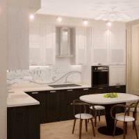 идея яркого интерьера кухни 8 кв.м картинка