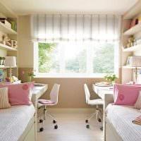 идея светлого декора детской комнаты для двоих детей картинка