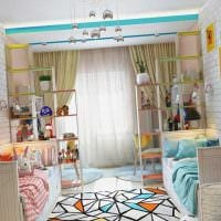 вариант яркого дизайна детской комнаты для двоих детей картинка
