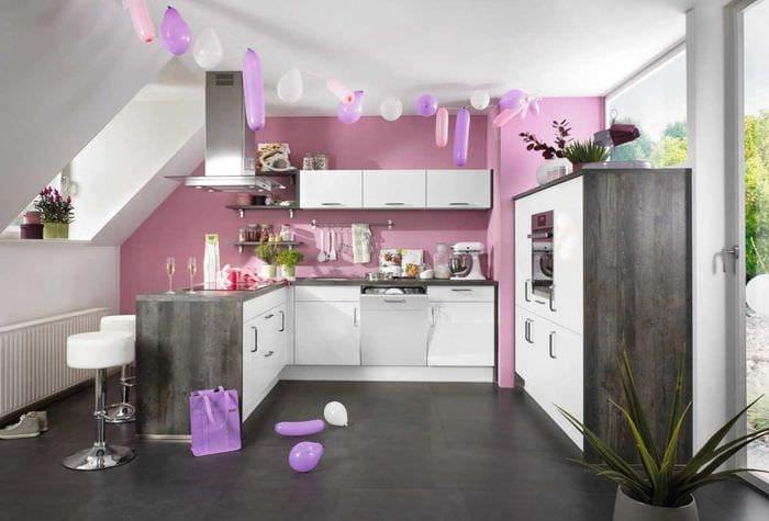 вариант светлого дизайна кухни 14 кв.м