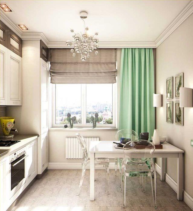 пример яркого интерьера кухни 8 кв.м