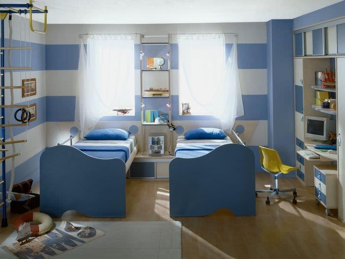идея светлого современного дизайна детской комнаты