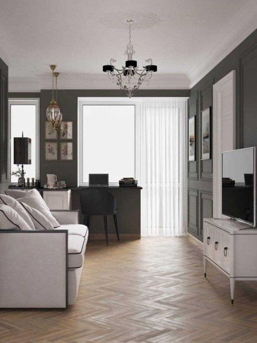 вариант интересного дизайна комнаты в советском стиле