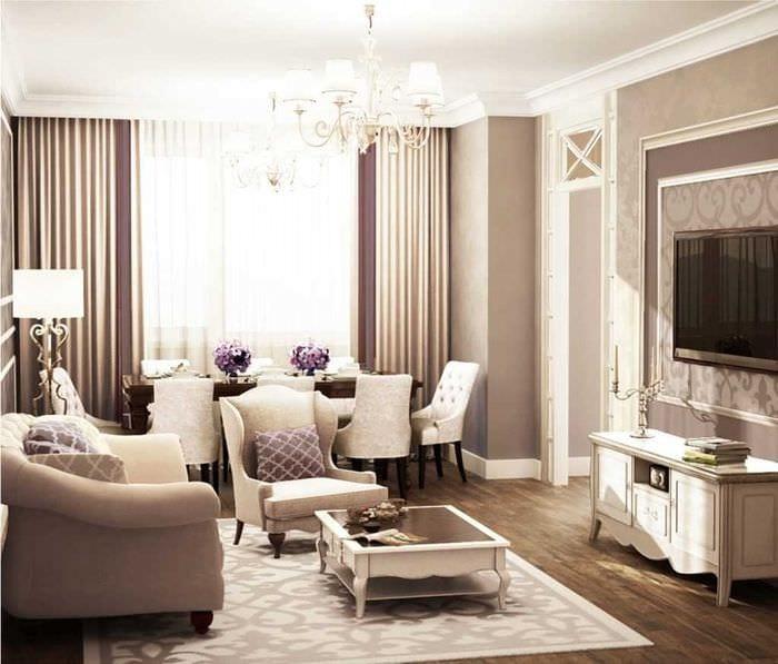 идея яркого сочетания бежевого цвета в интерьере комнаты