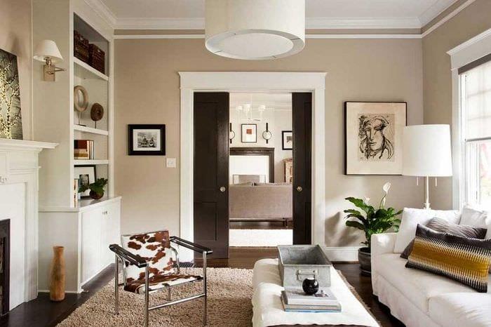 вариант интересного сочетания бежевого цвета в декоре квартиры