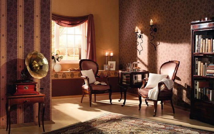 вариант использования яркого интерьера комнаты в стиле ретро