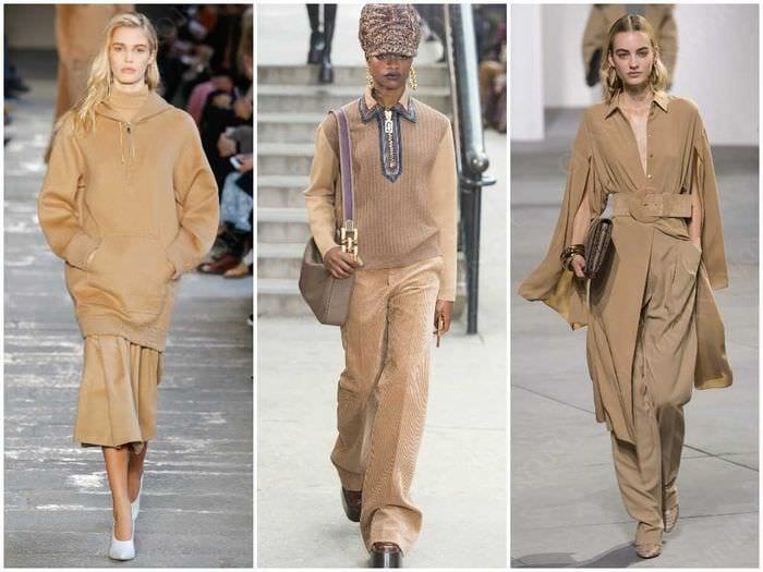вариант применения интересного бежевого цвета в стиле одежды
