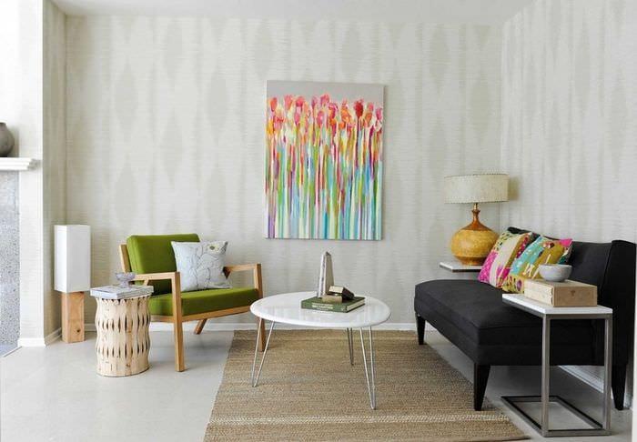 пример использования красивого дизайна комнаты в стиле ретро
