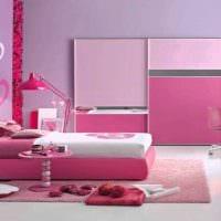 вариант использования розового цвета в необычном дизайне комнате картинка