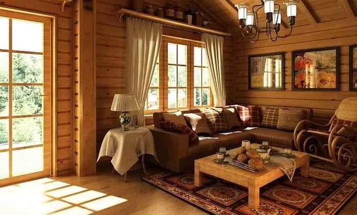 вариант применения русского стиля в светлом интерьере квартире