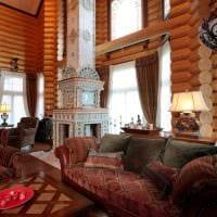 идея применения русского стиля в необычном интерьере комнате фото