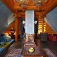 вариант применения русского стиля в светлом дизайне квартире картинка