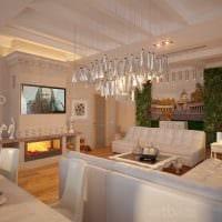 вариант использования светового дизайна в красивом интерьере квартиры фото