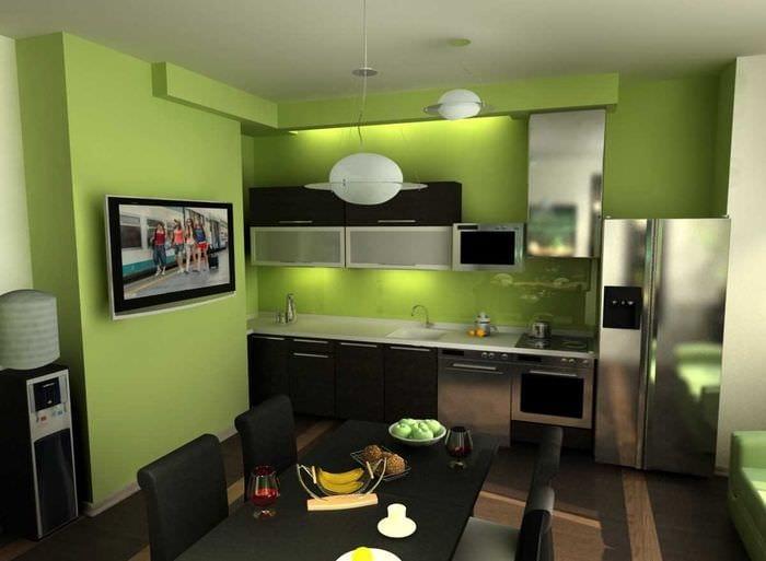 вариант применения зеленого цвета в необычном интерьере квартиры