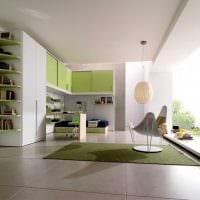 пример использования зеленого цвета в красивом дизайне комнаты картинка