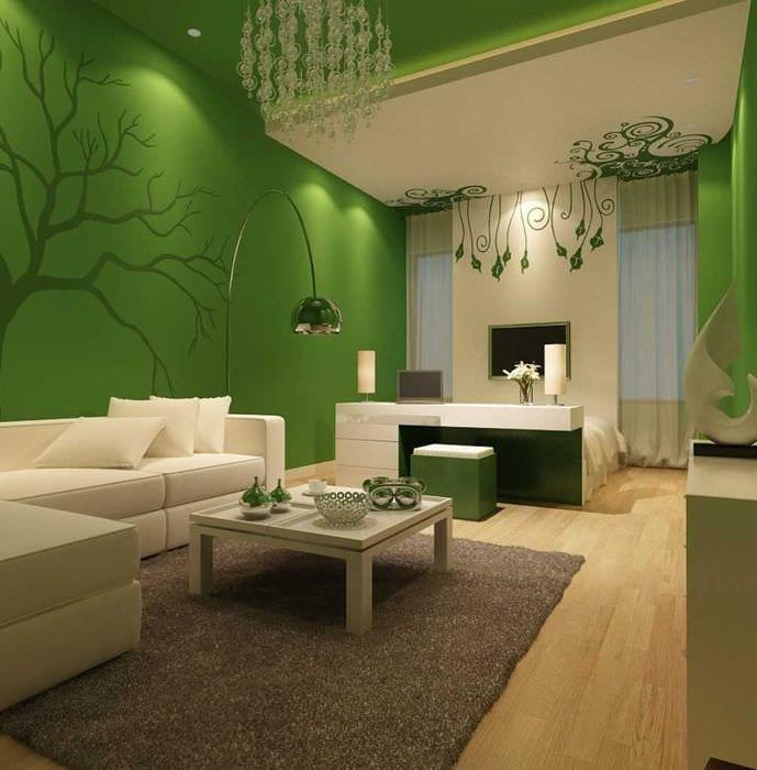 идея применения зеленого цвета в красивом декоре комнаты