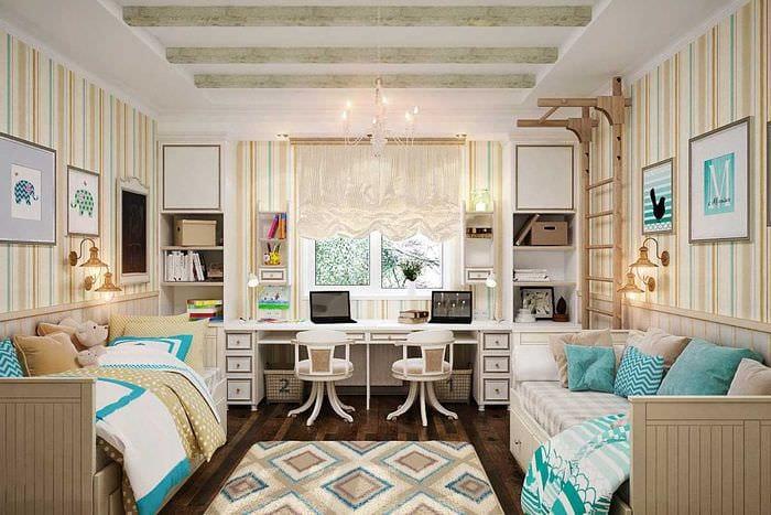 пример необычного дизайна детской комнаты для двоих девочек